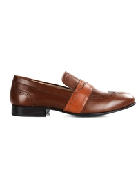 Coffee Brown and Tan Premium Wingcap Slipon main shoe image