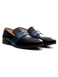 Black and Dark Blue Premium Wingcap Slipon alternate shoe image