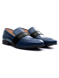 Dark Blue and Black Premium Wingcap Slipon alternate shoe image