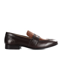 Brown and Coffee Brown Premium Wingcap Slipon main shoe image