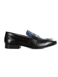 Black and Dark Blue Premium Wingcap Slipon main shoe image