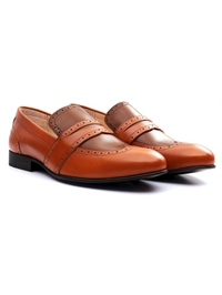 Tan and Coffee Brown Premium Wingcap Slipon alternate shoe image