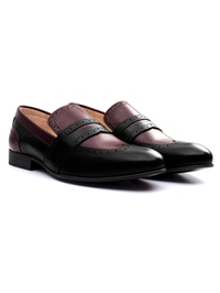 Black and Burgundy Premium Wingcap Slipon alternate shoe image