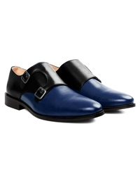 Black and Dark Blue Premium Double Strap Monk alternate shoe image