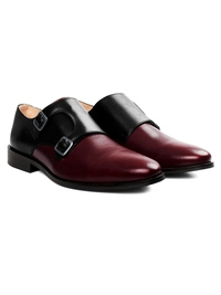Black and Burgundy Premium Double Strap Monk alternate shoe image