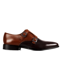 Coffee Brown and Brown Premium Double Strap Monk main shoe image