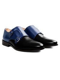Dark Blue and Black Premium Double Strap Monk alternate shoe image