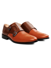 Coffee Brown and Tan Premium Double Strap Monk alternate shoe image