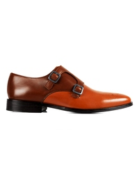 Coffee Brown and Tan Premium Double Strap Monk main shoe image