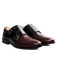 Black and Brown Premium Double Strap Monk alternate shoe image