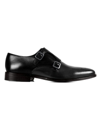 Black and Gray Premium Double Strap Monk main shoe image