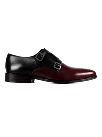 Black and Burgundy Premium Double Strap Monk main shoe image