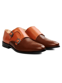 Tan and Coffee Brown Premium Double Strap Monk alternate shoe image