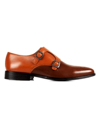 Tan and Coffee Brown Premium Double Strap Monk main shoe image