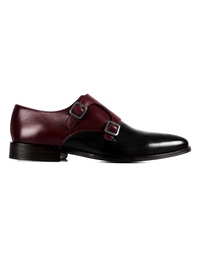 Burgundy and Black Premium Double Strap Monk main shoe image