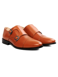 Tan Premium Double Strap Toecap Monk alternate shoe image