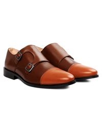 Coffee Brown and Tan Premium Double Strap Toecap Monk alternate shoe image
