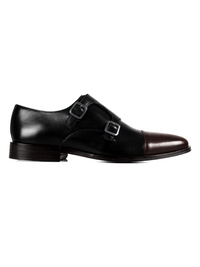 Black and Brown Premium Double Strap Toecap Monk main shoe image