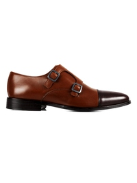 Coffee Brown and Brown Premium Double Strap Toecap Monk main shoe image