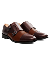 Brown and Coffee Brown Premium Double Strap Toecap Monk alternate shoe image