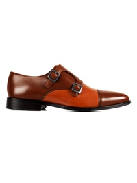 Coffee Brown and Tan Premium Double Strap Toecap Monk main shoe image
