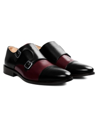 Black and Burgundy Premium Double Strap Toecap Monk alternate shoe image