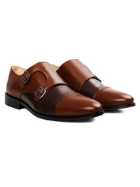 Coffee Brown and Brown Premium Double Strap Toecap Monk alternate shoe image