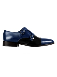 Dark Blue and Black Premium Double Strap Toecap Monk main shoe image