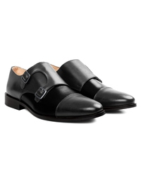 Gray and Black Premium Double Strap Toecap Monk alternate shoe image