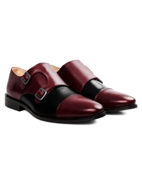Burgundy and Black Premium Double Strap Toecap Monk alternate shoe image