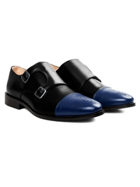 Black and Dark Blue Premium Double Strap Toecap Monk alternate shoe image