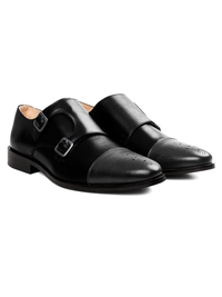 Black and Gray Premium Double Strap Toecap Monk alternate shoe image