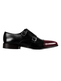 Black and Burgundy Premium Double Strap Toecap Monk main shoe image