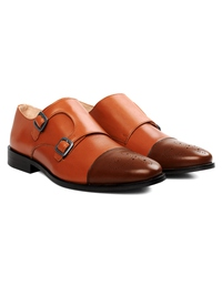 Tan and Coffee Brown Premium Double Strap Toecap Monk alternate shoe image
