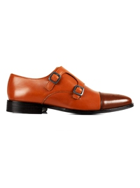Tan and Coffee Brown Premium Double Strap Toecap Monk main shoe image
