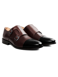 Brown and Black Premium Double Strap Toecap Monk alternate shoe image