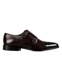 Brown and Black Premium Double Strap Toecap Monk main shoe image
