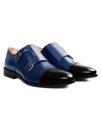 Dark Blue and Black Premium Double Strap Toecap Monk alternate shoe image