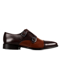 Brown and Coffee Brown Premium Double Strap Toecap Monk main shoe image