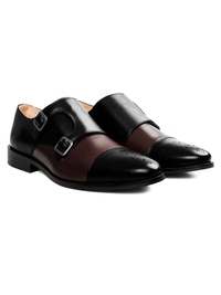 Black and Brown Premium Double Strap Toecap Monk alternate shoe image