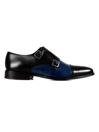 Black and Dark Blue Premium Double Strap Toecap Monk main shoe image
