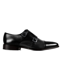 Black and Gray Premium Double Strap Toecap Monk main shoe image