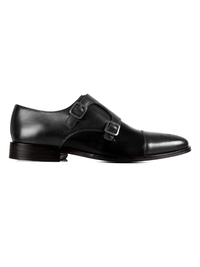 Gray and Black Premium Double Strap Toecap Monk main shoe image