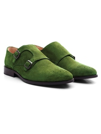 Dark Green Premium Double Strap Monk alternate shoe image