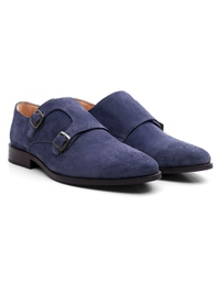 Dark Blue Premium Double Strap Monk alternate shoe image
