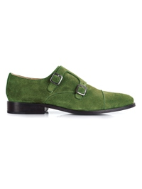 Dark Green Premium Double Strap Toecap Monk main shoe image