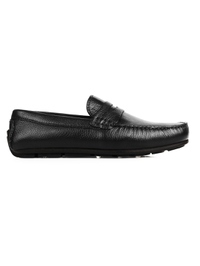 Black Penny Loafer Moccasins Leather Shoes main shoe image