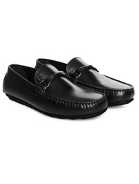 Black Buckle Moccasins Leather Shoes alternate shoe image