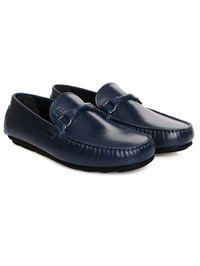 Dark Blue Buckle Moccasins Leather Shoes alternate shoe image