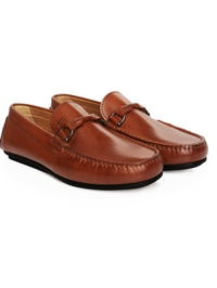 Tan Buckle Moccasins Leather Shoes alternate shoe image